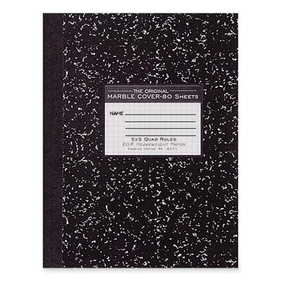 "Roaring Spring Paper Products Composition Book,Quad Ruled,5""x5"",80 Sh,10-1/8""x7-7/8"",BK"