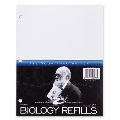 Roaring Spring Paper Products Biology Filler Paper, 3-Hole Punch, 11&quot;x8-1/2&quot;, 20 per Pack, White