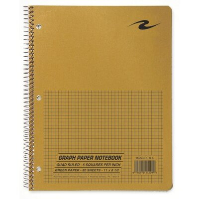 "Roaring Spring Paper Products Quad Notebook, Wirebound, 5x5 Quad, 3-Hole Punch, 11""x8-1/2"", 80 Sh, Brown"