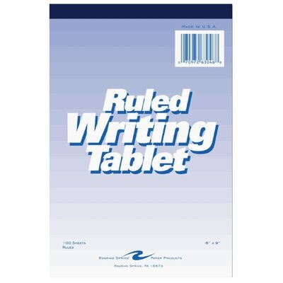 "Roaring Spring Paper Products Writing Tablet, 6""x9"", 100 Sheets, Wide, White"