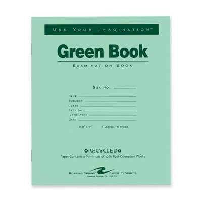 "Roaring Spring Paper Products Exam Book, Wide Ruled, 8 Sh/16 Pages, 8-1/2""x7"", 50 per Pack, Green"