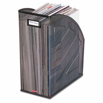 Rolodex Corporation Nestable Rolled Mesh Steel Jumbo Magazine File, 10 x 12-1/2 x 5-7/8, Black