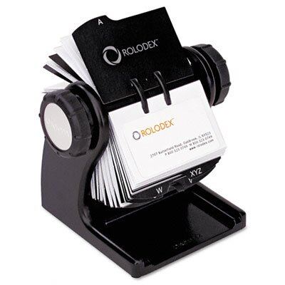 Rolodex Corporation Wood Tones Open Rotary Business Card File Holds 400 2-5/8 x 4 Cards, Black