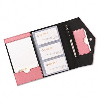 Rolodex Corporation Resilient Business Card Book, Faux Leather, Pink