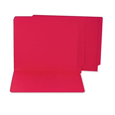S&J PAPER Water/Paper Cut-Resistant Folders, Straight Cut, End Tab, Letter, Red, 100/Box