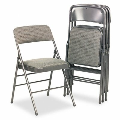 Cosco Bridgeport Deluxe Fabric Padded Seat & Back Folding Chairs, 4/Carton