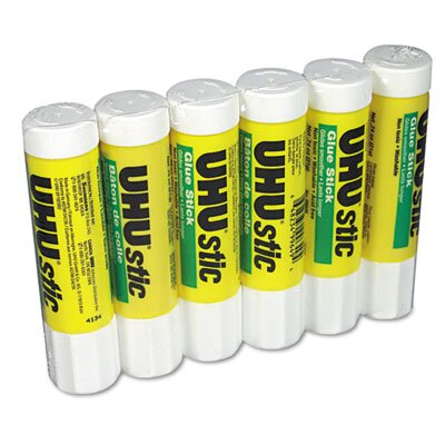 Saunders Manufacturing UHU Stic Permanent Clear Application Glue Stick, .74 oz, 6/pack