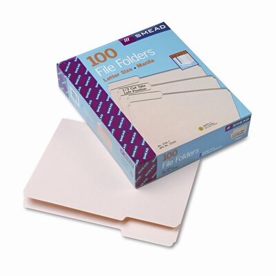Smead Manufacturing Company 1/3 Cut First Position One-Ply Top Tab File Folders, Letter, 100/Box
