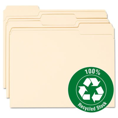 Smead Manufacturing Company One-Ply Top Tab 100% Recycled File Folders, 100/Box