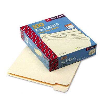Smead Manufacturing Company 1/5 Cut One-Ply Top Tab File Folders, 100/Box