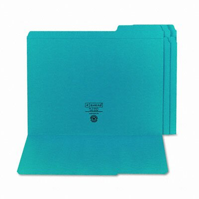 Smead Manufacturing Company File Folders, 1/3 Cut, Reinforced Top Tab, 11 Point, Letter, Teal, 100/Box