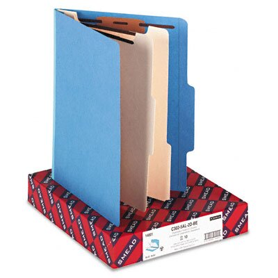 Smead Manufacturing Company Classification Top Tab Folders, Two Dividers, 10/Box