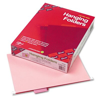 Smead Manufacturing Company Hanging File Folders, 1/5 Tab, 11 Point Stock, Letter, Pink, 25 per Box