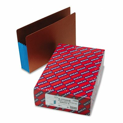 Smead Manufacturing Company 5 1/4 in Expansion File Pockets w/Tyvek, Straight, Legal, Blue/Redrope, 10/Box
