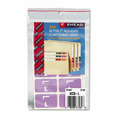 Smead Manufacturing Company Alpha-Z Color-Coded Second Letter Labels, Letter A, Red, 100/Pack