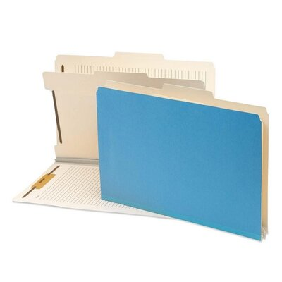 "Smead Manufacturing Company Classification Folder,2""Exp,1 Divider,14-3/4""x10"",10/BX,Blue"