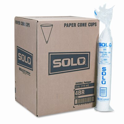 Solo Cups Company Cone Water Cups, 25 Bags of 200/Carton