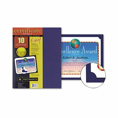 Southworth Company Certificate Holder, 12 x 9 1/2, Navy, 10 per Pack