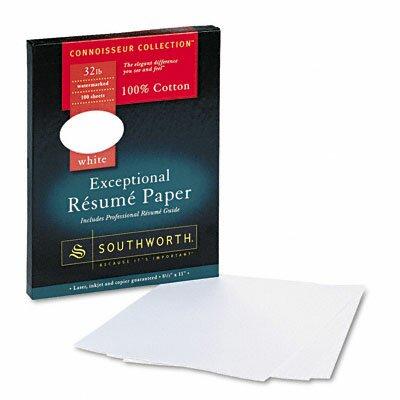 Southworth Company Connoisseur Exceptional Résumé Paper, White, 32lb, Letter, 100 per Box