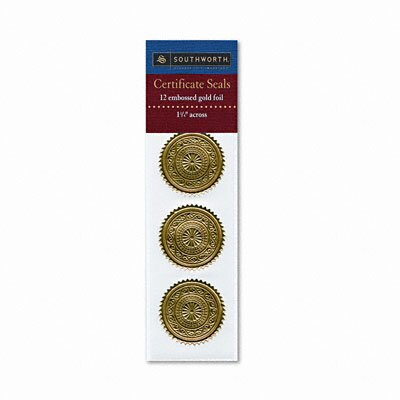Southworth Company Certificate Seals Medallion Embossed Foil, 12/Pack