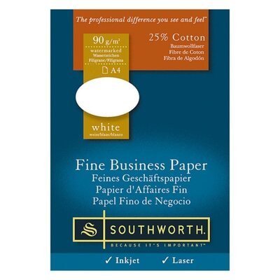 Southworth Company Fine Business Paper, 24 lb., A4 Size, 500/RM, White