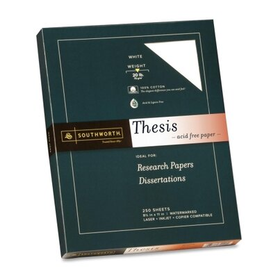 "Southworth Company Thesis Paper, Exceptional, 20 lb., 8-1/2""x11"", 250 per Pack, Bright White"