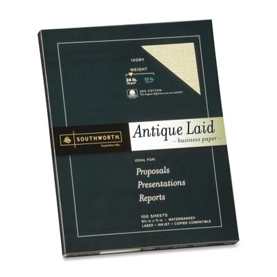 "Southworth Company Antique Laid Paper, 24LB, 8-1/2""x11"", 100 Sheets per Box , Ivory"