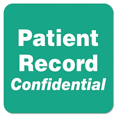 "Tabbies ""Patient Record Confidential"" Medical Labels, 2 x 2, Green, 500 per Roll"