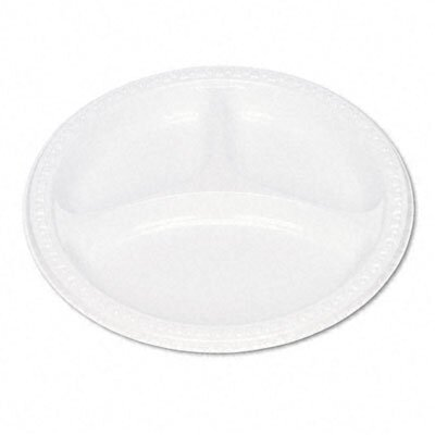 Tablemate Products Plastic Dinnerware, Compartment Plates, 125/Pack