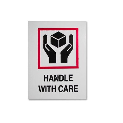 Tatco Shipping Label, Handle With Care, 500 per Roll, Red/Black
