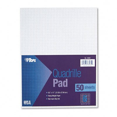 Tops Business Forms Quadrille Pads, 6 Squares/Inch, 50 Sheets / Pad