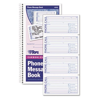Tops Business Forms Spiralbound Message Book, Two-Part Carbonless, 200/Book