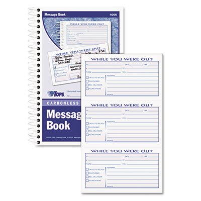 Tops Business Forms Spiralbound Message Book, Carbonless Duplicate, 300 Sets/Book