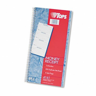 Tops Business Forms Money/Rent Receipt Spiral Book, 2-Part Carbonless, 200 Sets/Book