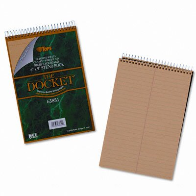 Tops Business Forms Docket Steno Pad, Gregg Rule, 100 Sheets/Pad
