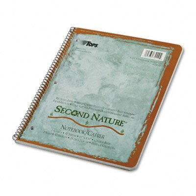 Tops Business Forms Second Nature Subject Wirebound Notebook, College Rule, Letter, White, 80