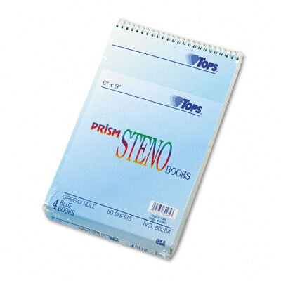 Tops Business Forms Spiral Steno Notebook, Gregg Rule, 6 x 9, Four 80-Sheet Pads per Pack