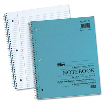 Tops Business Forms Blue Kraft Notebook, College Rule, 9 x 11, White, 50 Sheets/Pad