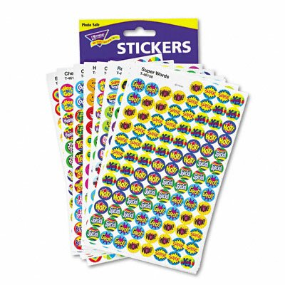 Trend Enterprises Superspots and Supershapes Sticker Variety Packs, Positive Praisers, 2,500/Pack