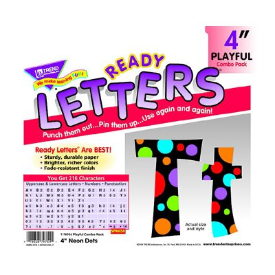 Trend Enterprises Neon Dots Ready Letters 4in Upper