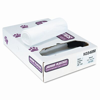 Unisan Regular Grade Liners, 33 gallon, 12 microns, 40 x 33, Natural, 500 per Carton