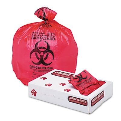 "Unisan Health Care ""Bio-hazard"" Printed Liners, 1.3mil, 24 x 32, Red, 250 per Carton"