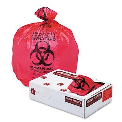 "Unisan Health Care ""Bio-hazard"" Printed Liners, 1.3mil, 36 x 58, Red, 100 per Carton"