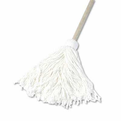 Unisan Deck Mop with 48 Wooden Handle, 16-oz. Rayon Fiber Head