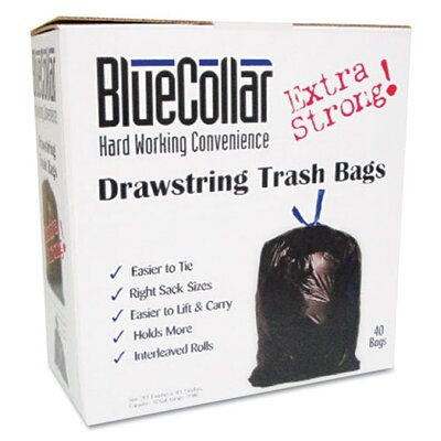 Unisan Bluecollar Drawstring Trash Bags, 40/Box