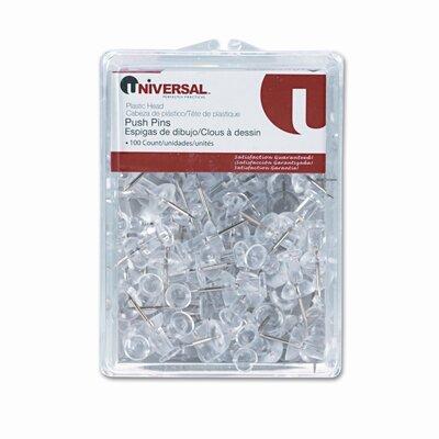 "Universal® Plastic Head Push Pins, Steel 3/8"" Point, Clear, 100 per Pack"