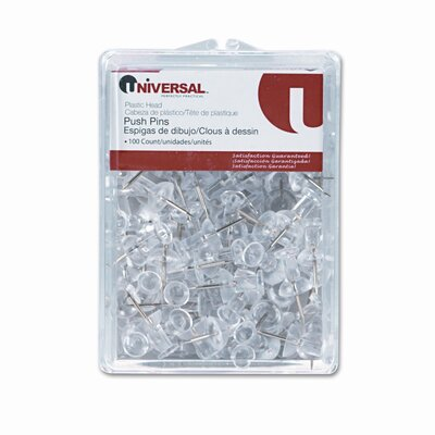 "Universal® Plastic Head Push Pins, Steel 3/8"" Point, Clear, 100 per Pack"