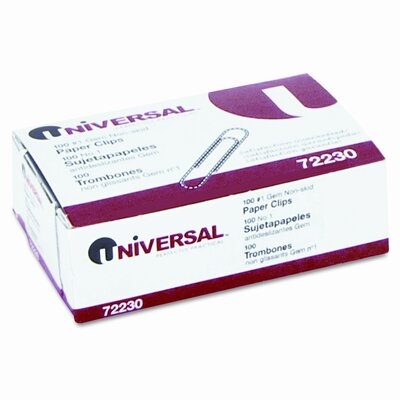 Universal® Nonskid Paper Clips, Wire, No. 1, Silver, 100/Box