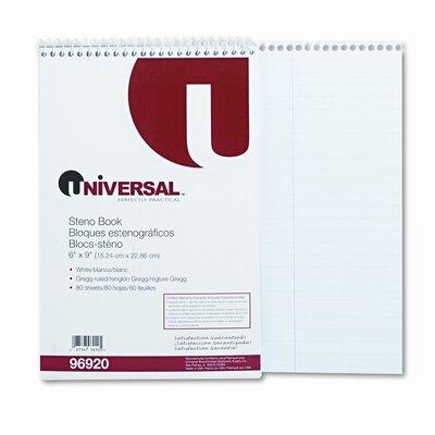 Universal® Steno Book, Gregg Rule, 6 x 9, 80 Sheets per Pad