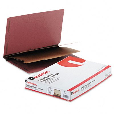 Universal® Pressboard End Tab Classification Folders, 10/Box
